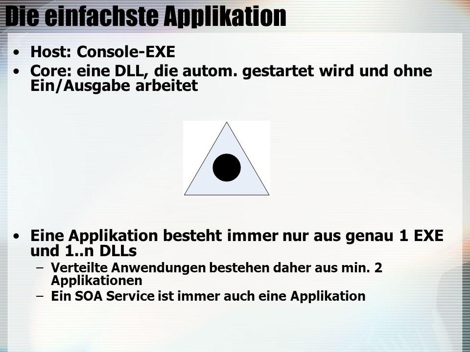 Die einfachste Applikation Host: Console-EXE Core: eine DLL, die autom. gestartet wird und ohne Ein/Ausgabe arbeitet Eine Applikation besteht immer nu