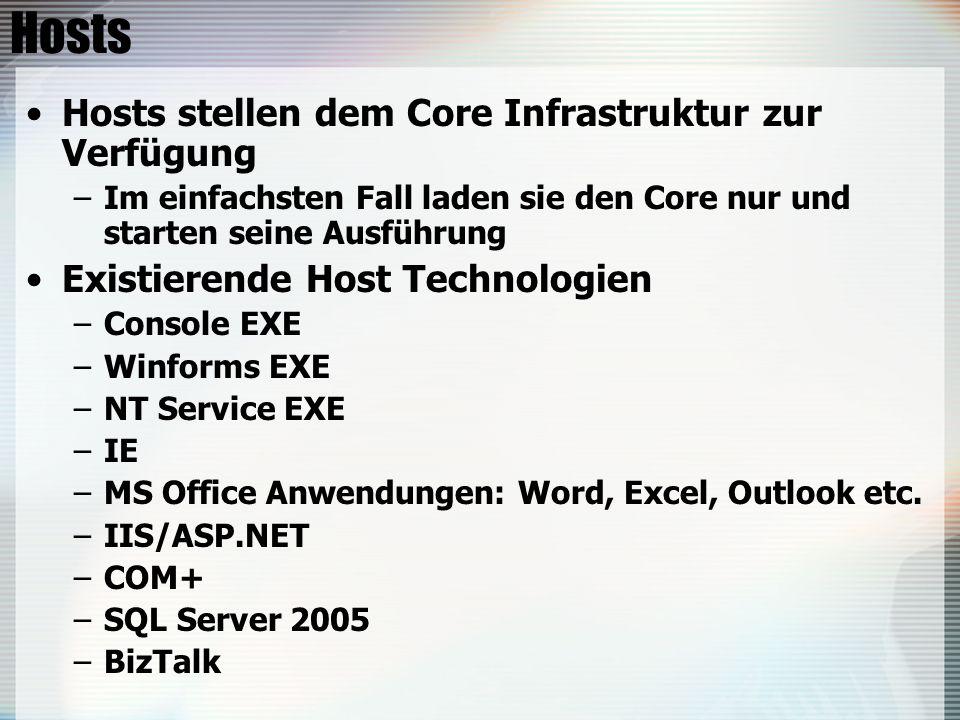Hosts Hosts stellen dem Core Infrastruktur zur Verfügung –Im einfachsten Fall laden sie den Core nur und starten seine Ausführung Existierende Host Technologien –Console EXE –Winforms EXE –NT Service EXE –IE –MS Office Anwendungen: Word, Excel, Outlook etc.