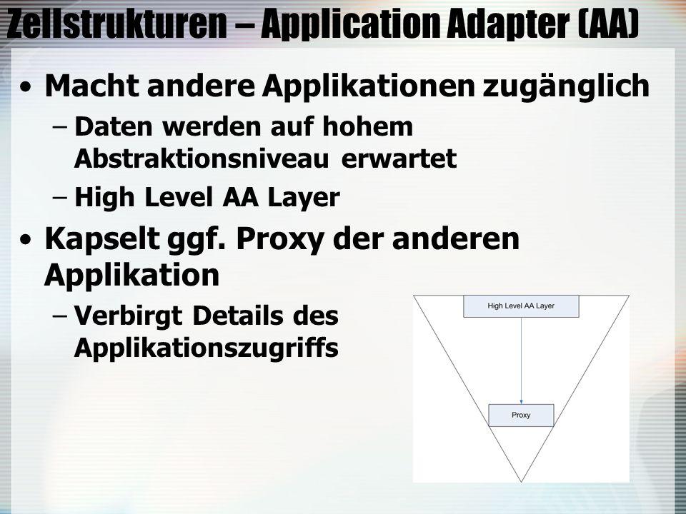 Zellstrukturen – Application Adapter (AA) Macht andere Applikationen zugänglich –Daten werden auf hohem Abstraktionsniveau erwartet –High Level AA Layer Kapselt ggf.