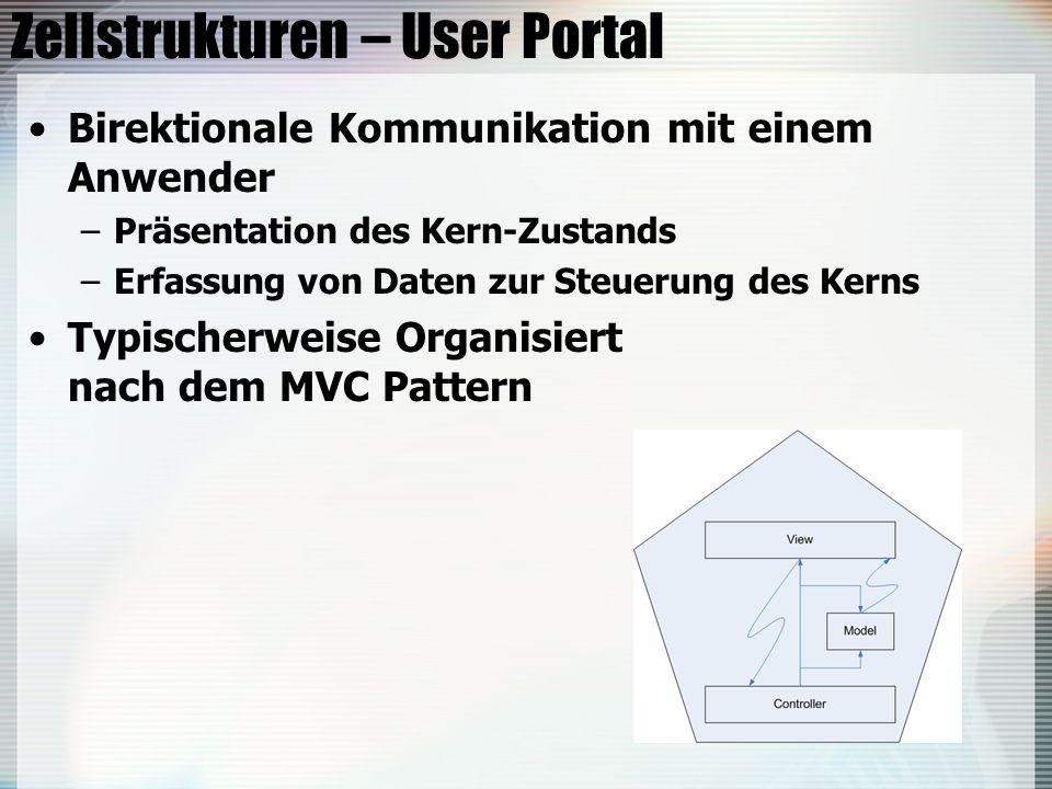 Zellstrukturen – User Portal Birektionale Kommunikation mit einem Anwender –Präsentation des Kern-Zustands –Erfassung von Daten zur Steuerung des Kerns Typischerweise Organisiert nach dem MVC Pattern