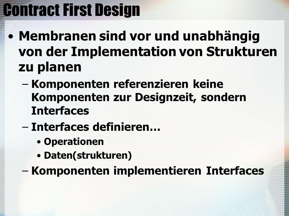 Contract First Design Membranen sind vor und unabhängig von der Implementation von Strukturen zu planen –Komponenten referenzieren keine Komponenten zur Designzeit, sondern Interfaces –Interfaces definieren… Operationen Daten(strukturen) –Komponenten implementieren Interfaces