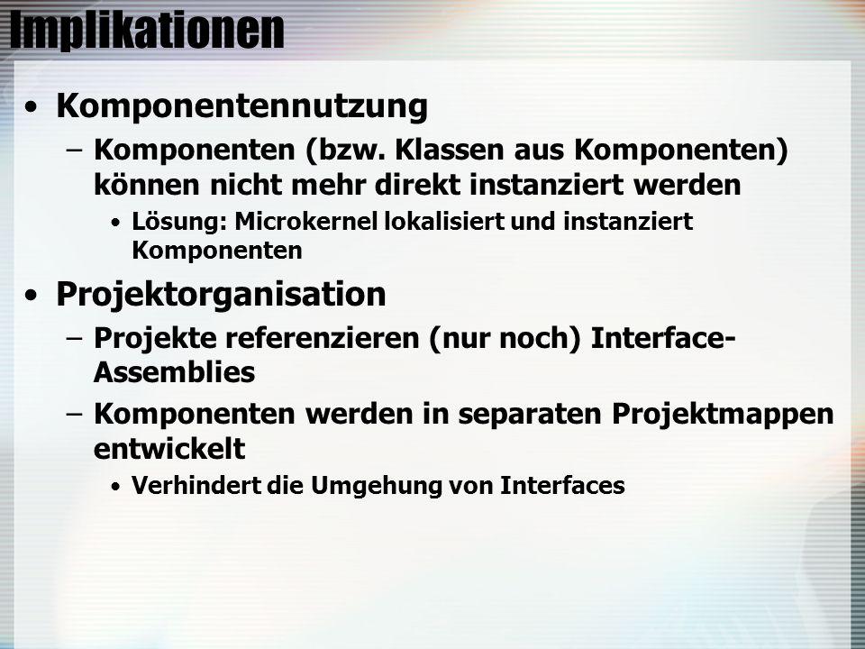 Implikationen Komponentennutzung –Komponenten (bzw. Klassen aus Komponenten) können nicht mehr direkt instanziert werden Lösung: Microkernel lokalisie