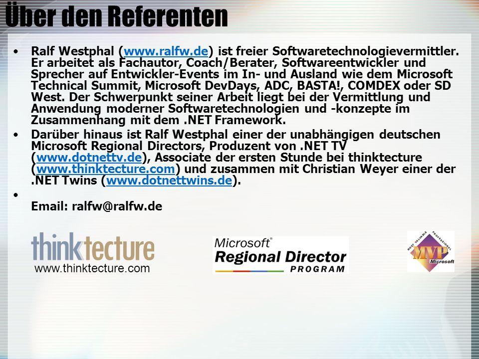 Über den Referenten Ralf Westphal (www.ralfw.de) ist freier Softwaretechnologievermittler. Er arbeitet als Fachautor, Coach/Berater, Softwareentwickle