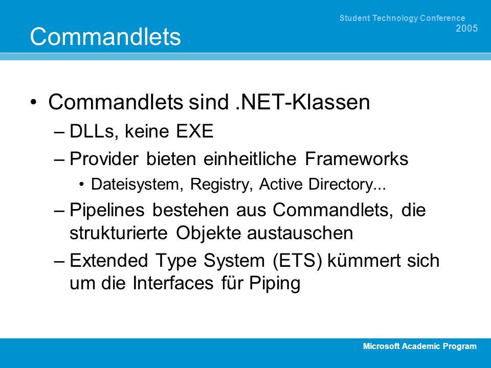 Microsoft Academic Program Student Technology Conference 2005 Commandlets Commandlets sind.NET-Klassen –DLLs, keine EXE –Provider bieten einheitliche Frameworks Dateisystem, Registry, Active Directory...