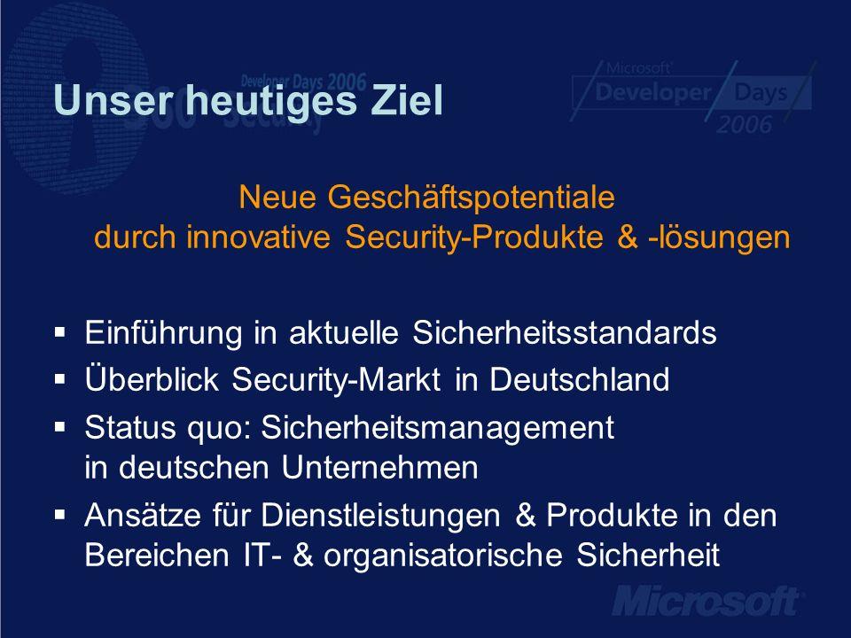 Unser heutiges Ziel Neue Geschäftspotentiale durch innovative Security-Produkte & -lösungen Einführung in aktuelle Sicherheitsstandards Überblick Secu