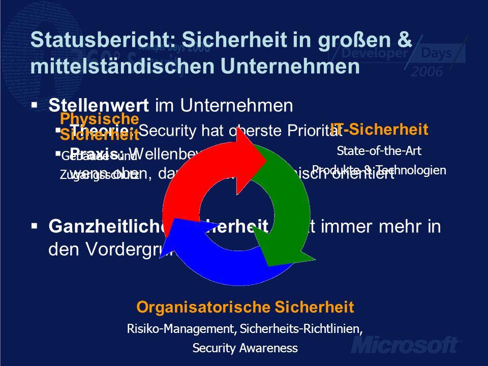 Statusbericht: Sicherheit in großen & mittelständischen Unternehmen Stellenwert im Unternehmen Theorie: Security hat oberste Priorität Praxis: Wellenb