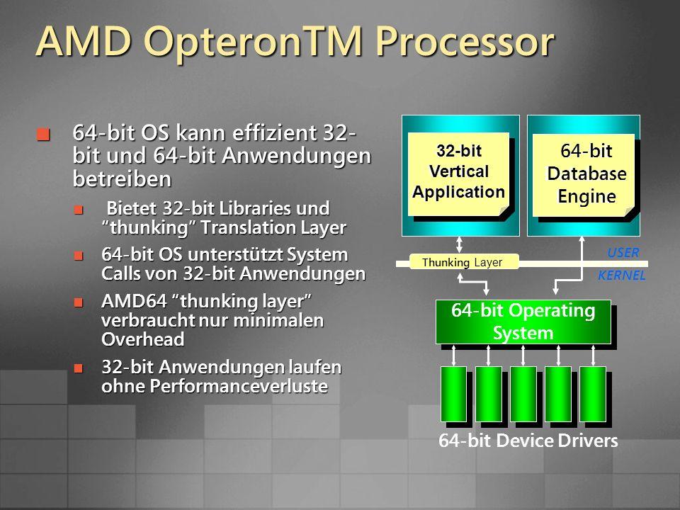 64-bit OS kann effizient 32- bit und 64-bit Anwendungen betreiben 64-bit OS kann effizient 32- bit und 64-bit Anwendungen betreiben Bietet 32-bit Libraries und thunking Translation Layer Bietet 32-bit Libraries und thunking Translation Layer 64-bit OS unterstützt System Calls von 32-bit Anwendungen 64-bit OS unterstützt System Calls von 32-bit Anwendungen AMD64 thunking layer verbraucht nur minimalen Overhead AMD64 thunking layer verbraucht nur minimalen Overhead 32-bit Anwendungen laufen ohne Performanceverluste 32-bit Anwendungen laufen ohne Performanceverluste KERNEL USER 64-bit Operating System 64-bit Device Drivers Thunking Layer 32-bit Vertical Application 64-bit Database Engine 32-bit Vertical Application 64-bit Database Engine AMD OpteronTM Processor