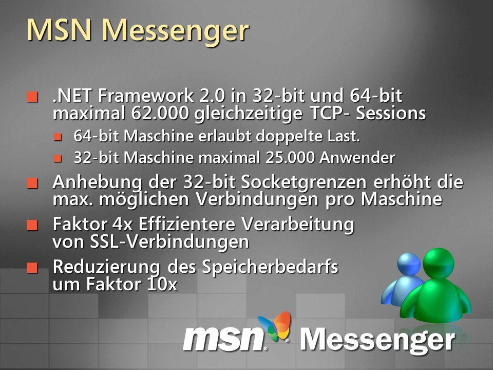 MSN Messenger.NET Framework 2.0 in 32-bit und 64-bit maximal 62.000 gleichzeitige TCP- Sessions.NET Framework 2.0 in 32-bit und 64-bit maximal 62.000 gleichzeitige TCP- Sessions 64-bit Maschine erlaubt doppelte Last.