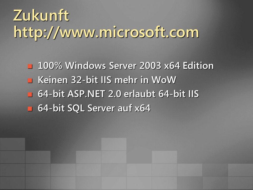 Zukunft http://www.microsoft.com 100% Windows Server 2003 x64 Edition 100% Windows Server 2003 x64 Edition Keinen 32-bit IIS mehr in WoW Keinen 32-bit IIS mehr in WoW 64-bit ASP.NET 2.0 erlaubt 64-bit IIS 64-bit ASP.NET 2.0 erlaubt 64-bit IIS 64-bit SQL Server auf x64 64-bit SQL Server auf x64