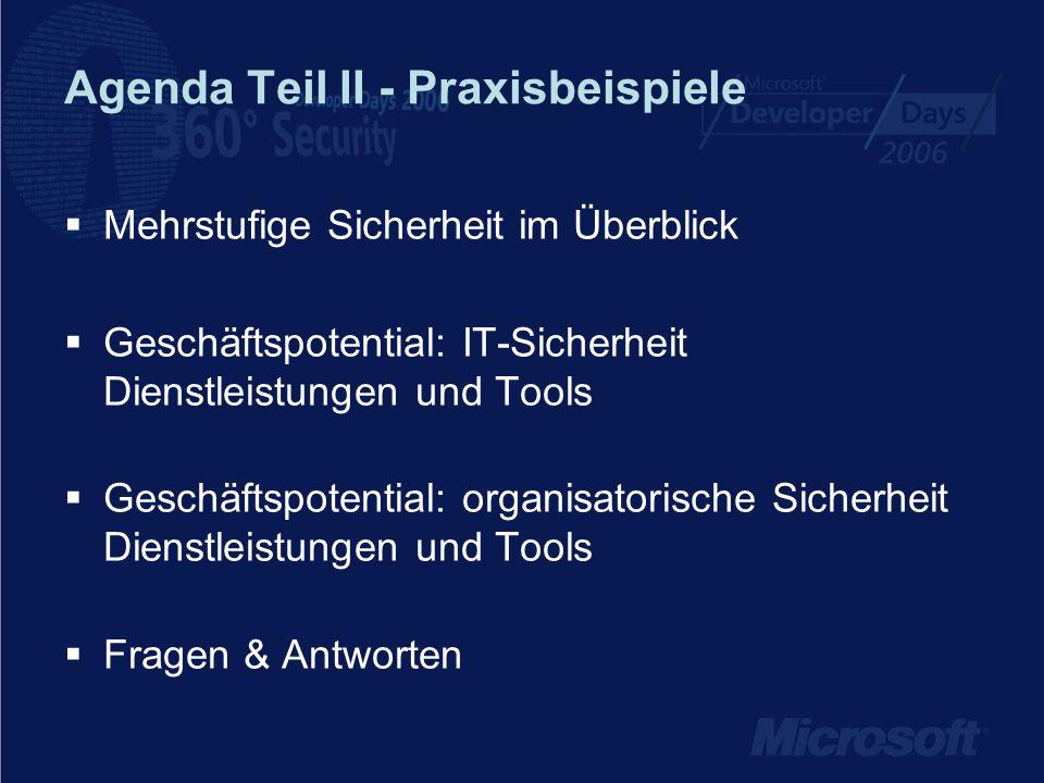 Agenda Teil II - Praxisbeispiele Mehrstufige Sicherheit im Überblick Geschäftspotential: IT-Sicherheit Dienstleistungen und Tools Geschäftspotential: