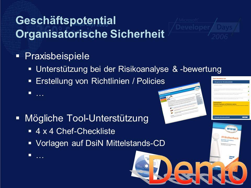 Geschäftspotential Organisatorische Sicherheit Praxisbeispiele Unterstützung bei der Risikoanalyse & -bewertung Erstellung von Richtlinien / Policies