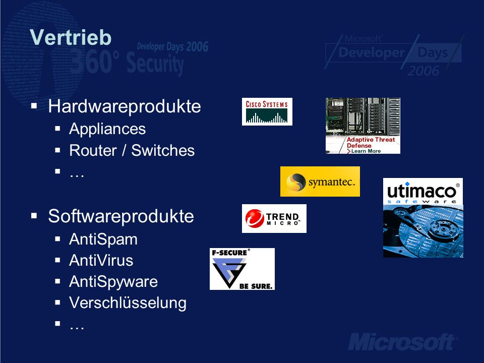 Vertrieb Hardwareprodukte Appliances Router / Switches … Softwareprodukte AntiSpam AntiVirus AntiSpyware Verschlüsselung …