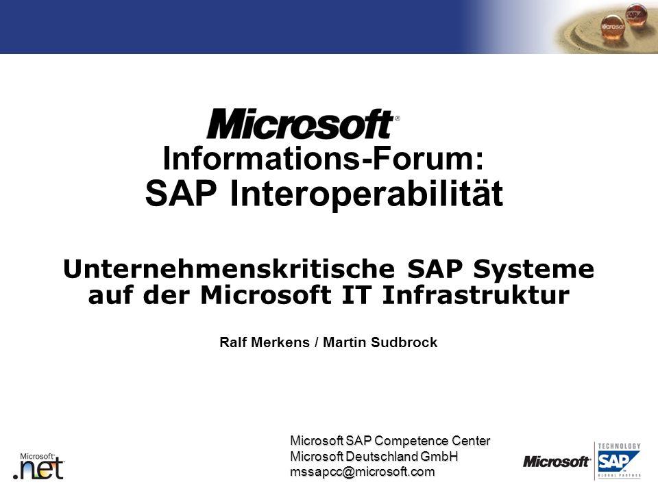 TM Microsoft SAP Competence Center Microsoft Deutschland GmbH mssapcc@microsoft.com Informations-Forum: SAP Interoperabilität Unternehmenskritische SA