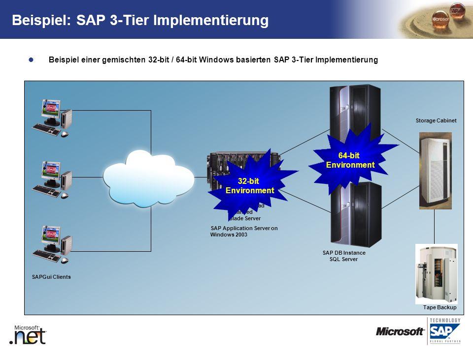 TM Beispiel: SAP 3-Tier Implementierung Beispiel einer gemischten 32-bit / 64-bit Windows basierten SAP 3-Tier Implementierung Tape Backup SAP R/3 clu