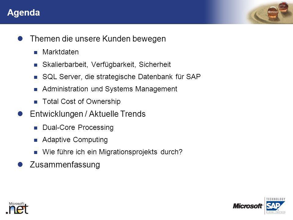 TM Agenda Themen die unsere Kunden bewegen Marktdaten Skalierbarbeit, Verfügbarkeit, Sicherheit SQL Server, die strategische Datenbank für SAP Adminis