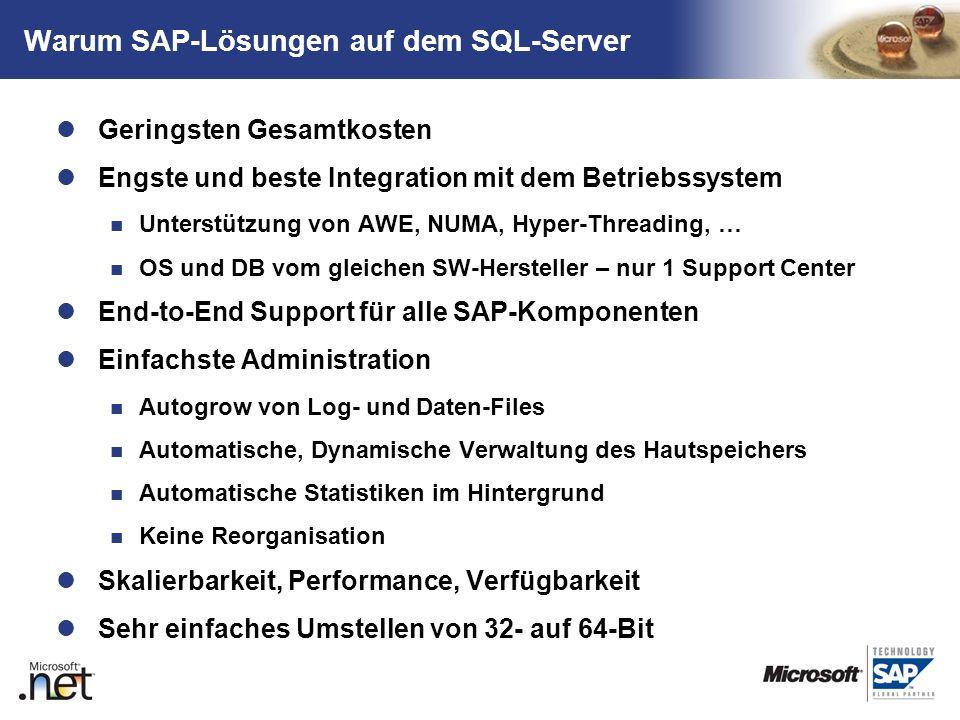 TM Warum SAP-Lösungen auf dem SQL-Server Geringsten Gesamtkosten Engste und beste Integration mit dem Betriebssystem Unterstützung von AWE, NUMA, Hype