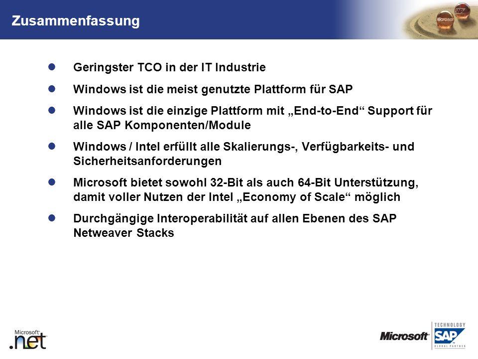 TM Geringster TCO in der IT Industrie Windows ist die meist genutzte Plattform für SAP Windows ist die einzige Plattform mit End-to-End Support für al