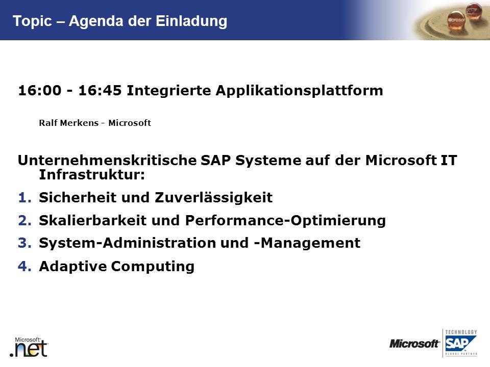 TM Topic – Agenda der Einladung 16:00 - 16:45 Integrierte Applikationsplattform Ralf Merkens - Microsoft Unternehmenskritische SAP Systeme auf der Mic