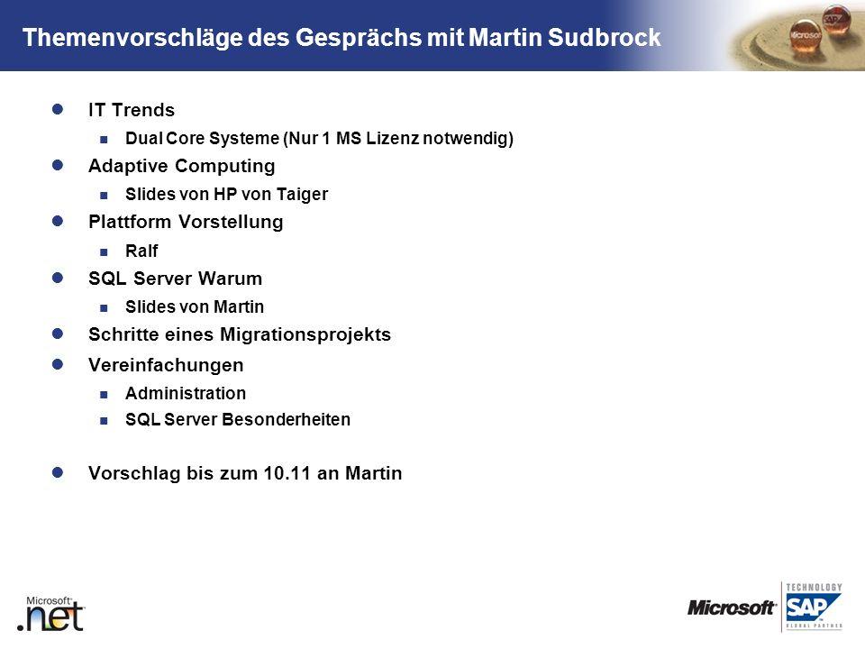 TM Themenvorschläge des Gesprächs mit Martin Sudbrock IT Trends Dual Core Systeme (Nur 1 MS Lizenz notwendig) Adaptive Computing Slides von HP von Tai