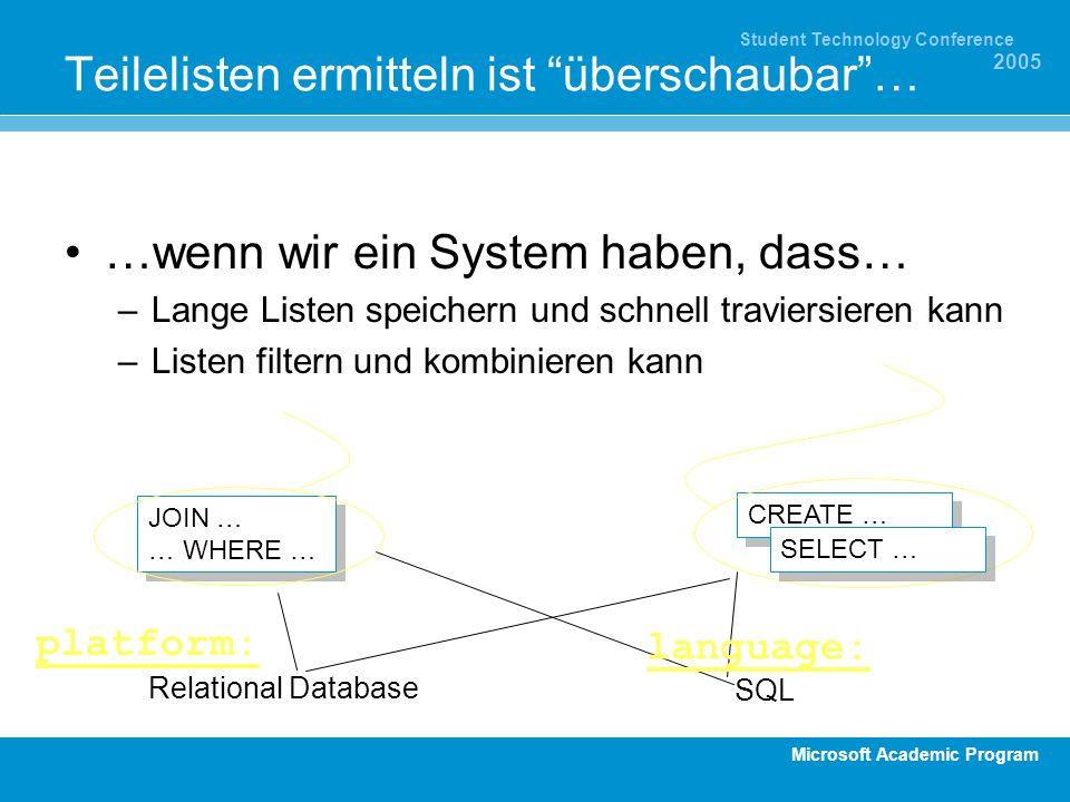 Microsoft Academic Program Student Technology Conference 2005 Teilelisten ermitteln ist überschaubar… …wenn wir ein System haben, dass… –Lange Listen