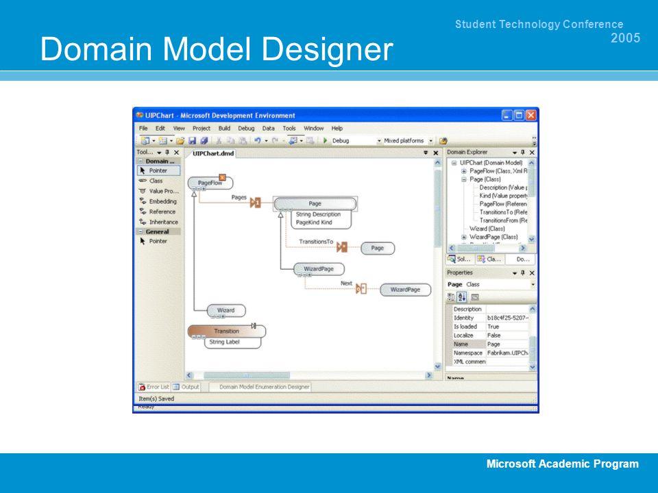 Microsoft Academic Program Student Technology Conference 2005 Domain Model Designer
