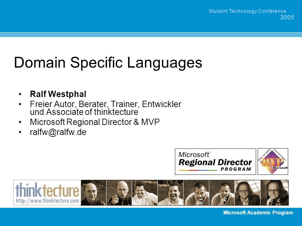 Microsoft Academic Program Student Technology Conference 2005 Allgemeine Programmierung General Purpose Languages (GPL) Generic Languages C#, VB.NET, C, C++, Java, Modula-2, Ada usw.