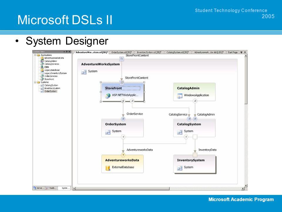 Microsoft Academic Program Student Technology Conference 2005 Microsoft DSLs II System Designer