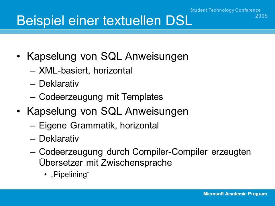 Microsoft Academic Program Student Technology Conference 2005 Beispiel einer textuellen DSL Kapselung von SQL Anweisungen –XML-basiert, horizontal –De