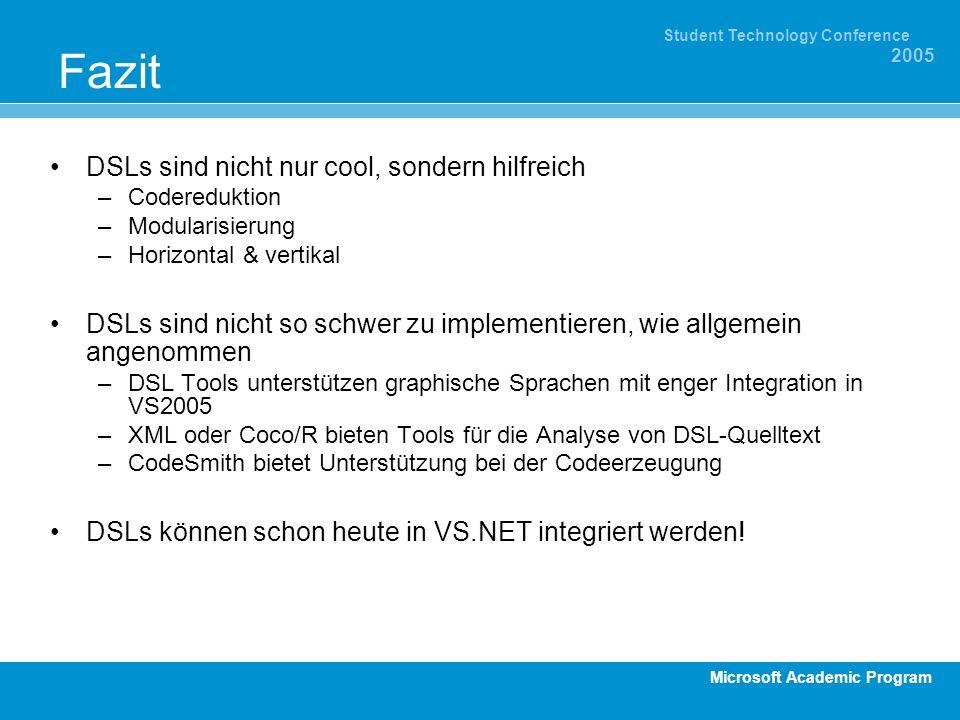 Microsoft Academic Program Student Technology Conference 2005 Fazit DSLs sind nicht nur cool, sondern hilfreich –Codereduktion –Modularisierung –Horiz