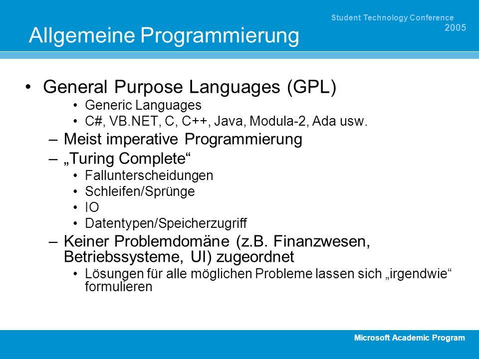 Microsoft Academic Program Student Technology Conference 2005 Beispiel Suchen: GPL VB.NET Code –Suche ab oder ac in einem String.