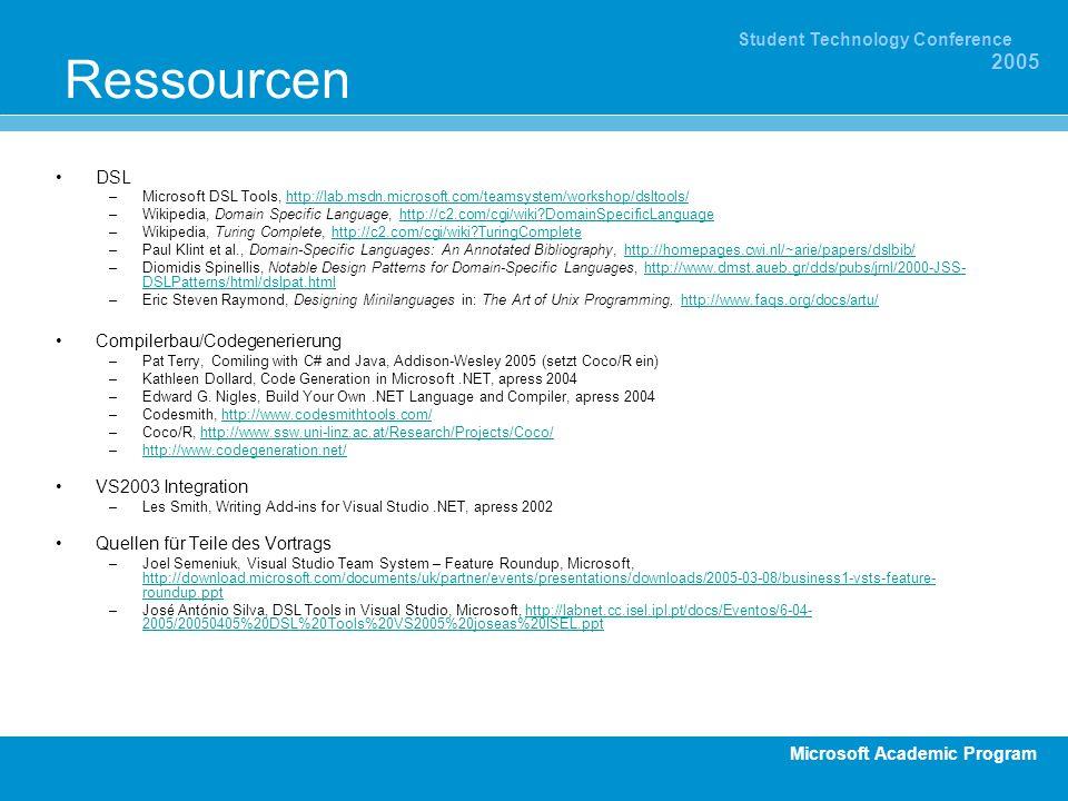 Microsoft Academic Program Student Technology Conference 2005 Ressourcen DSL –Microsoft DSL Tools, http://lab.msdn.microsoft.com/teamsystem/workshop/d