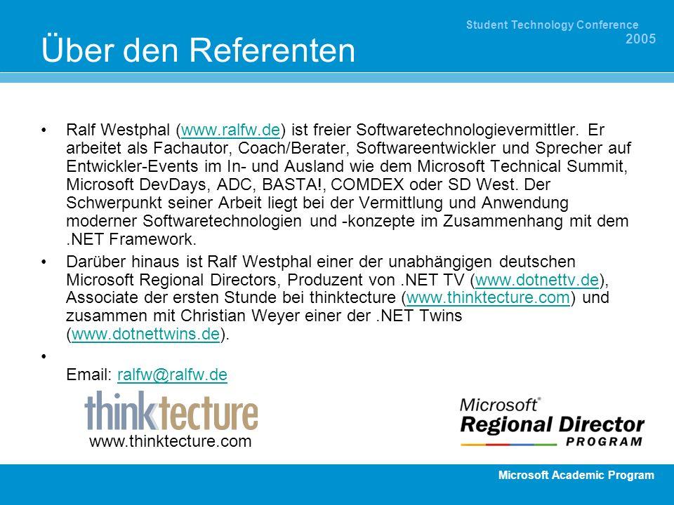 Microsoft Academic Program Student Technology Conference 2005 Über den Referenten Ralf Westphal (www.ralfw.de) ist freier Softwaretechnologievermittle