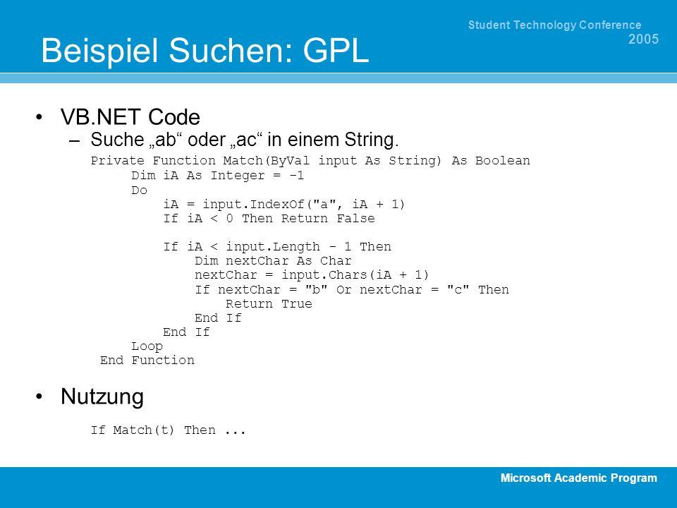 Microsoft Academic Program Student Technology Conference 2005 Beispiel Suchen: GPL VB.NET Code –Suche ab oder ac in einem String. Private Function Mat