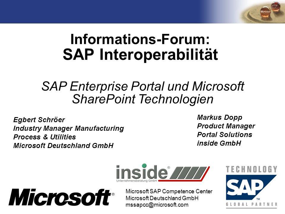 TM Microsoft SAP Competence Center Microsoft Deutschland GmbH mssapcc@microsoft.com Informations-Forum: SAP Interoperabilität SAP Enterprise Portal un