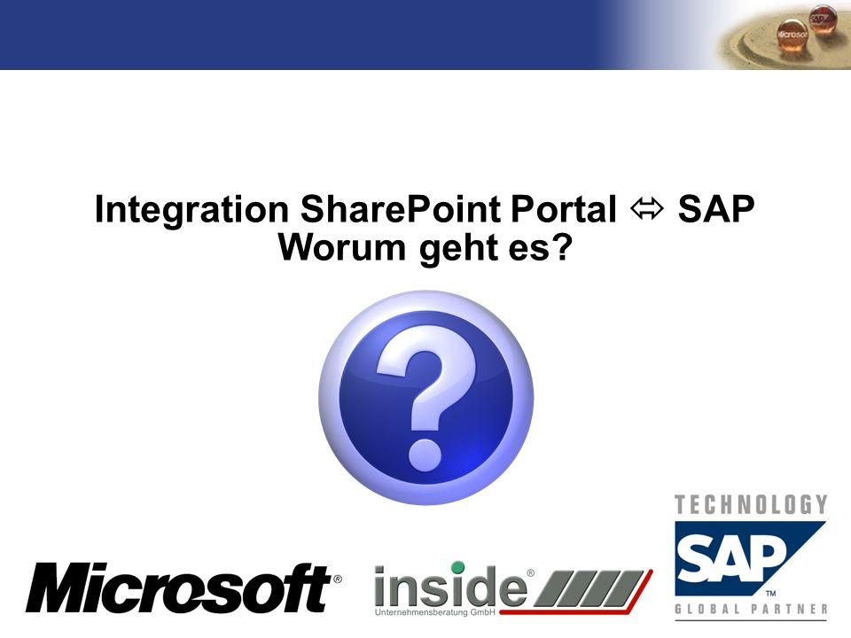 TM Integration SharePoint Portal SAP Worum geht es?