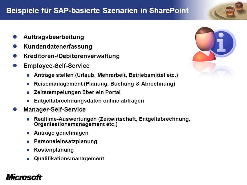 TM Beispiele für SAP-basierte Szenarien in SharePoint Auftragsbearbeitung Kundendatenerfassung Kreditoren-/Debitorenverwaltung Employee-Self-Service A