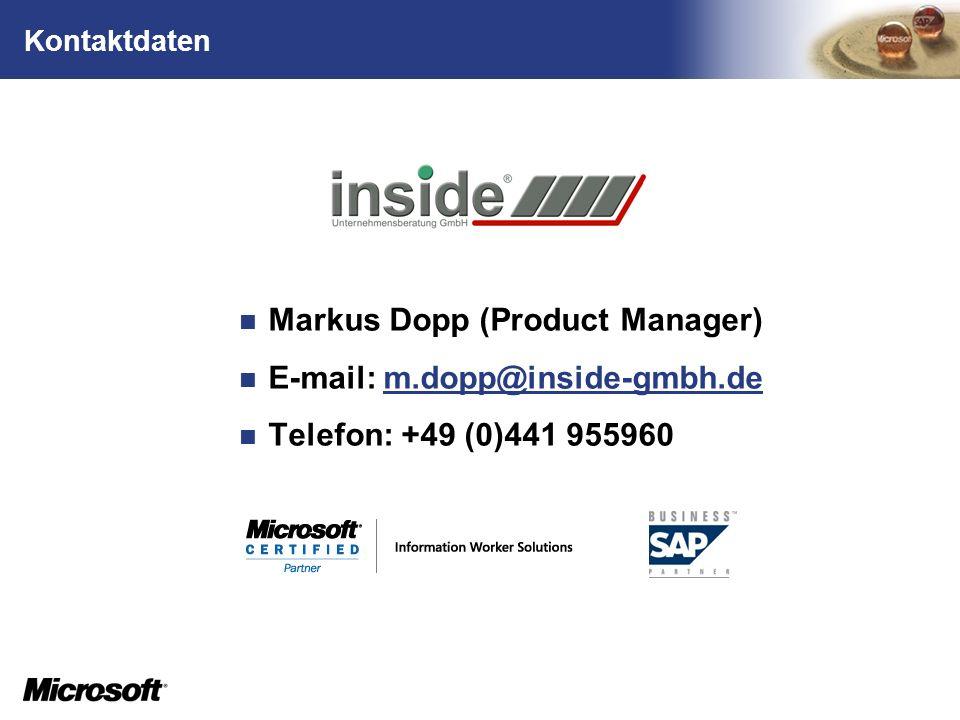 TM Kontaktdaten Markus Dopp (Product Manager) E-mail: m.dopp@inside-gmbh.dem.dopp@inside-gmbh.de Telefon: +49 (0)441 955960
