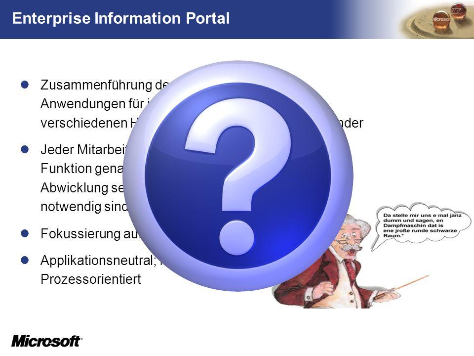 TM Enterprise Information Portal Zusammenführung der nötigen Daten und Anwendungen für jeden Kernprozess aus verschiedenen Hintergrundsystemen für den