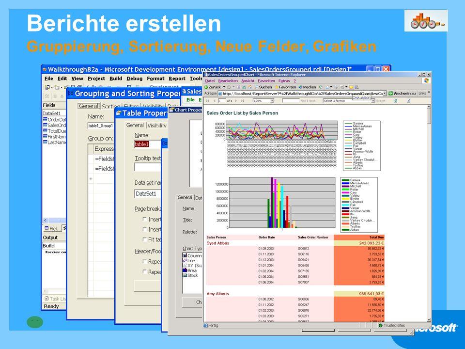 Berichte erstellen Gruppierung, Sortierung, Neue Felder, Grafiken