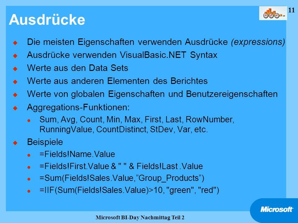 11 Microsoft BI-Day Nachmittag Teil 2 Ausdrücke u Die meisten Eigenschaften verwenden Ausdrücke (expressions) u Ausdrücke verwenden VisualBasic.NET Sy
