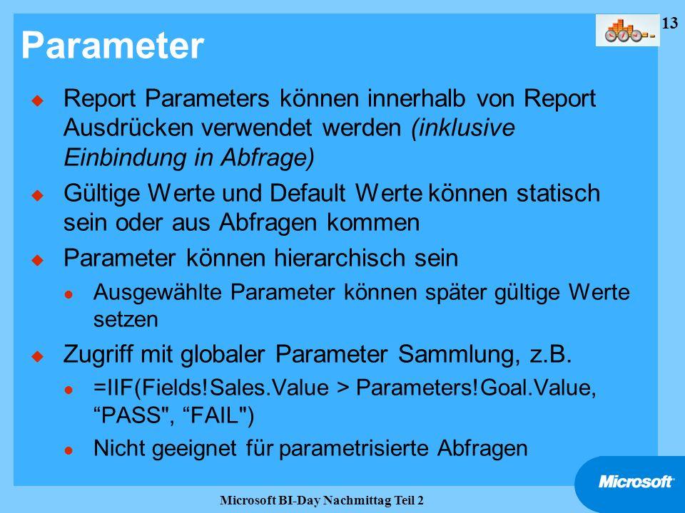13 Microsoft BI-Day Nachmittag Teil 2 Parameter u Report Parameters können innerhalb von Report Ausdrücken verwendet werden (inklusive Einbindung in A