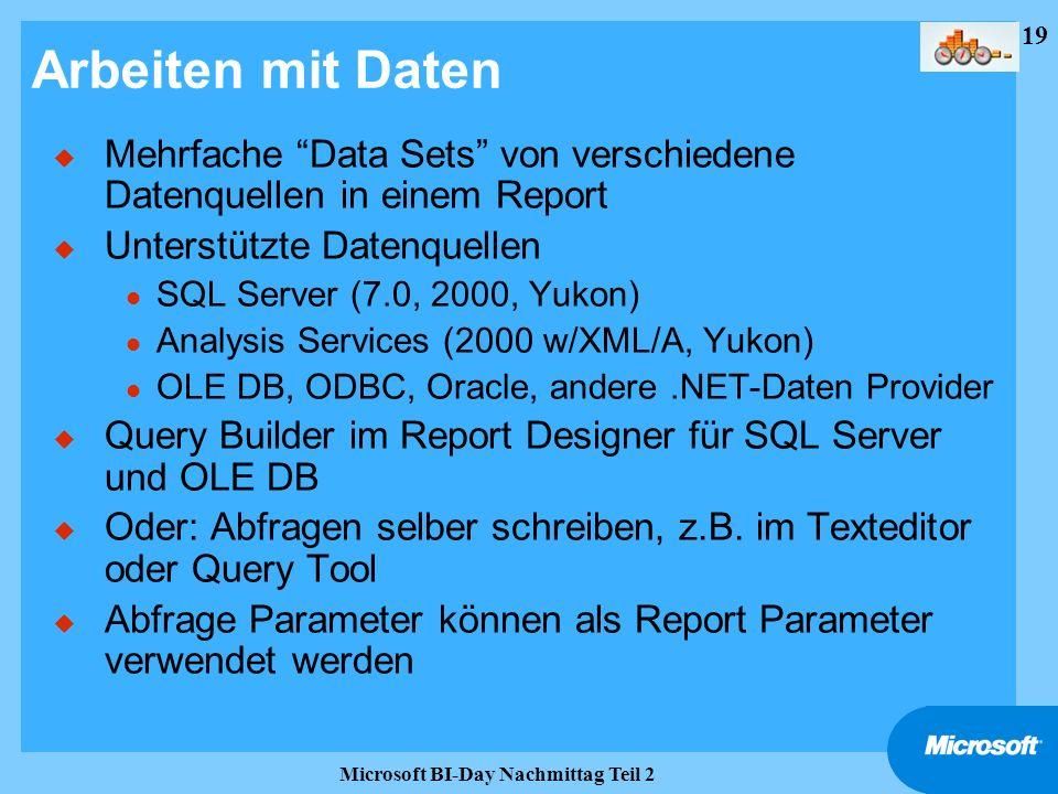 19 Microsoft BI-Day Nachmittag Teil 2 Arbeiten mit Daten u Mehrfache Data Sets von verschiedene Datenquellen in einem Report u Unterstützte Datenquell