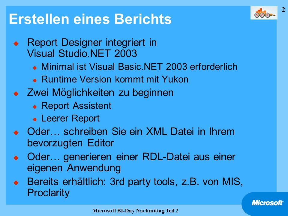 2 Microsoft BI-Day Nachmittag Teil 2 Erstellen eines Berichts u Report Designer integriert in Visual Studio.NET 2003 l Minimal ist Visual Basic.NET 20