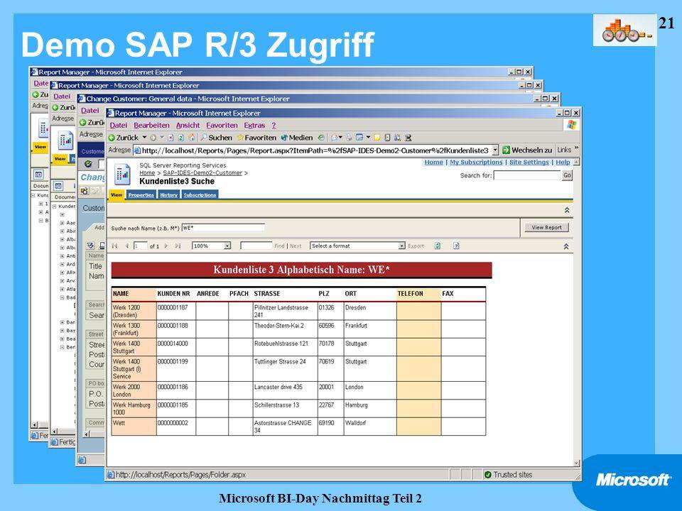 21 Microsoft BI-Day Nachmittag Teil 2 Demo SAP R/3 Zugriff
