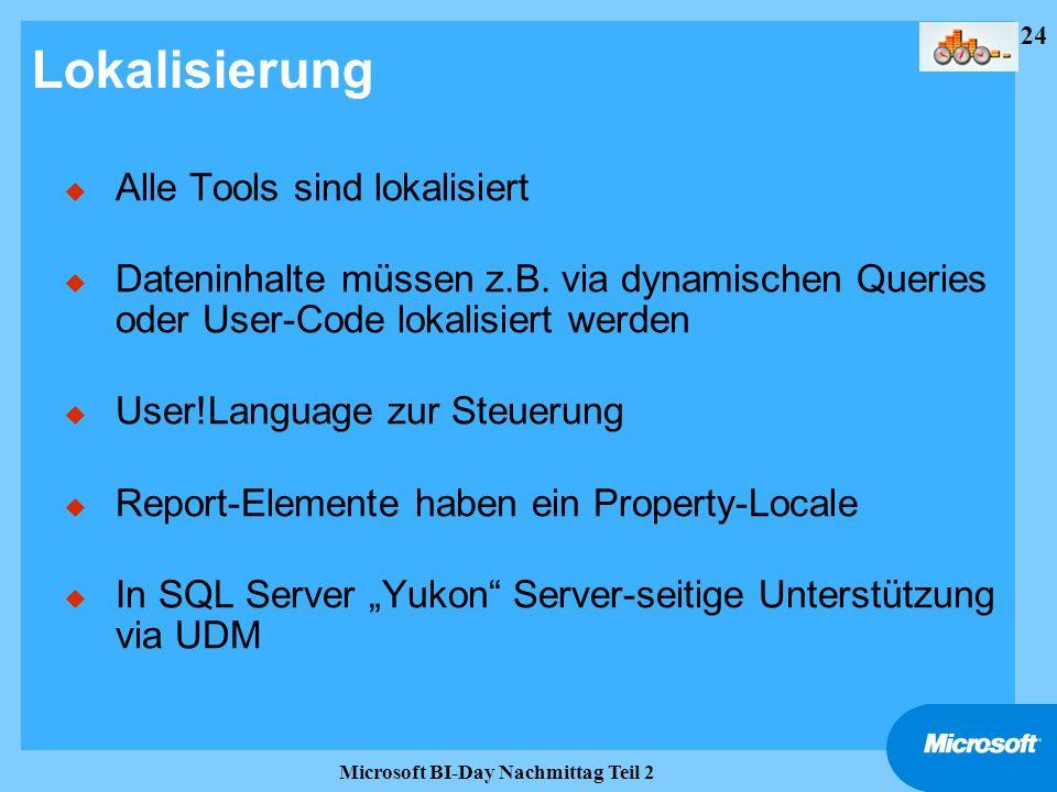 24 Microsoft BI-Day Nachmittag Teil 2 Lokalisierung u Alle Tools sind lokalisiert u Dateninhalte müssen z.B. via dynamischen Queries oder User-Code lo