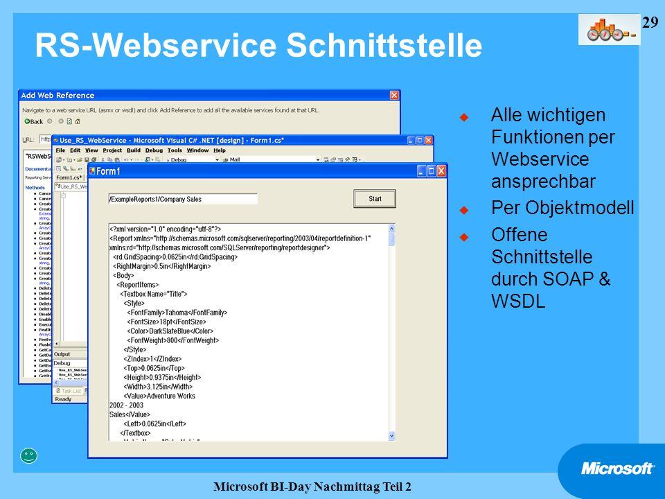 29 Microsoft BI-Day Nachmittag Teil 2 RS-Webservice Schnittstelle u Alle wichtigen Funktionen per Webservice ansprechbar u Per Objektmodell u Offene S