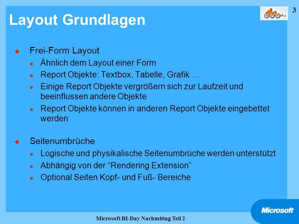 3 Microsoft BI-Day Nachmittag Teil 2 Layout Grundlagen u Frei-Form Layout l Ähnlich dem Layout einer Form l Report Objekte: Textbox, Tabelle, Grafik …
