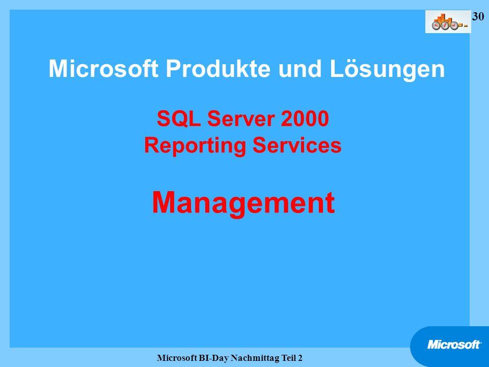 30 Microsoft BI-Day Nachmittag Teil 2 SQL Server 2000 Reporting Services Management Microsoft Produkte und Lösungen