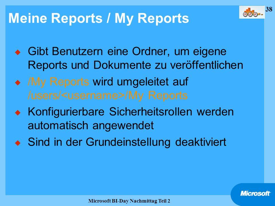 38 Microsoft BI-Day Nachmittag Teil 2 Meine Reports / My Reports u Gibt Benutzern eine Ordner, um eigene Reports und Dokumente zu veröffentlichen u /M