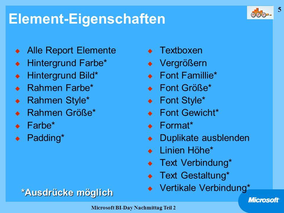 5 Microsoft BI-Day Nachmittag Teil 2 Element-Eigenschaften u Alle Report Elemente u Hintergrund Farbe* u Hintergrund Bild* u Rahmen Farbe* u Rahmen St